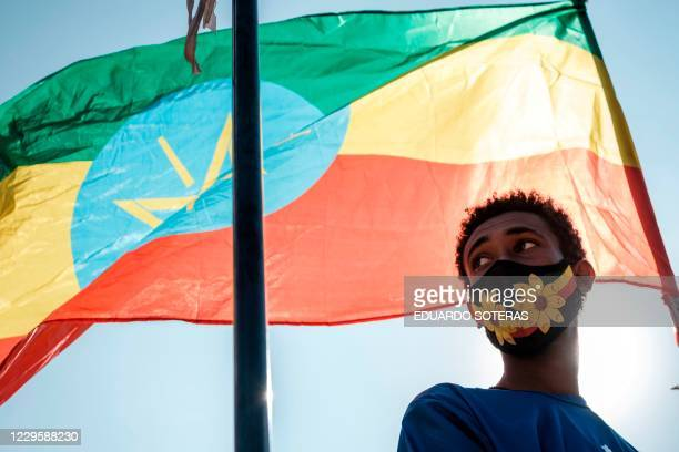 A youngster stands below an Ethiopian national flag during a blood donation rally organised by the city administration of Addis Ababa in Addis Ababa...