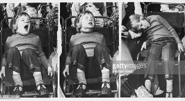 Youngster takes a nap during the Blue Peter 'Treasure Hunt' auction in London, 17th April 1973. The auction was run by Phillips, and raised money for...