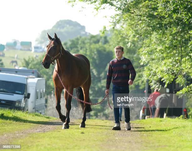 A youngster walks his horse through the campsite on the first day of the Appleby Horse Fair on June 7 2018 in Appleby EnglandThe fair is an annual...