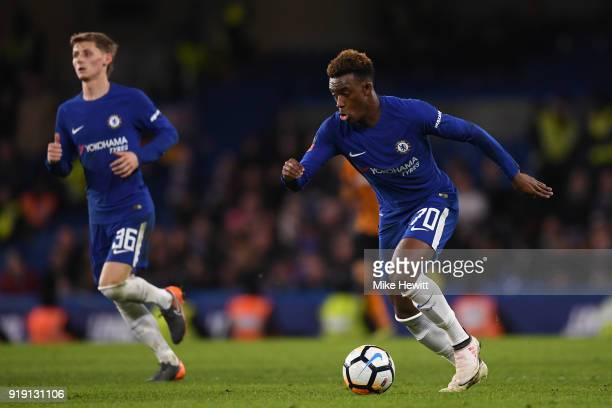 Youngsters Callum HudsonOdoi and Kyle Scott of Chelsea in action during The Emirates FA Cup Fifth Round match between Chelsea and Hull City at...
