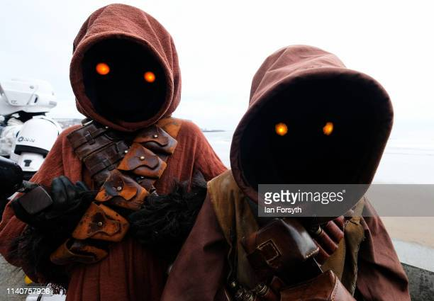 Youngsters from Sentinel Squad stand near the sea wall on the first day of the Scarborough Sci-Fi weekend at the seafront Spa Complex on April 06,...