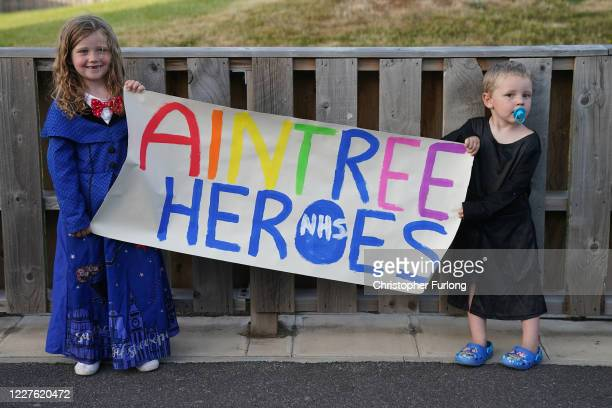 Youngsters Maisey Fagan aged 6 and her brother Leyton Fagan take part in the weekly Clap for Our Carers event at Aintree University Hospital on May...