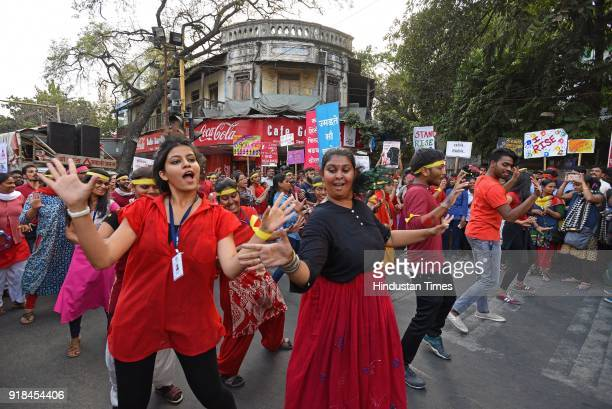 Youngsters perform a flash mob at Goodluck Chowk as a part of One Billion Rising a global movement founded by Eve Ensler sexual violence against...