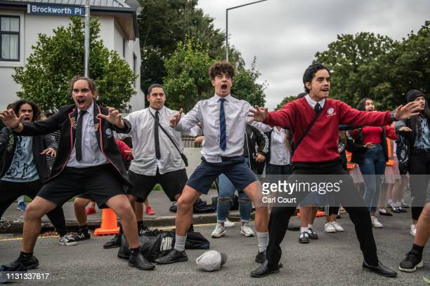 Youngsters perform a Haka during a students vigil near Al Noor mosque on March 18, 2019 in Christchurch, New Zealand. 50 people were killed, and...
