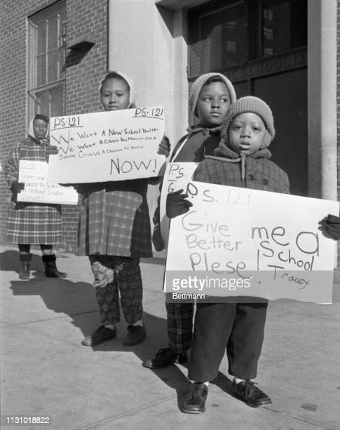 youngsters picket PS212 at 102nd St and 2nd Ave as boycott of New York City schools keeps one quarter of the city's one million pupils out of school...