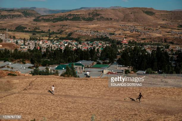 Youngsters play soccer in the outskirts of Gondar, Ethiopia, on November 24, 2020.