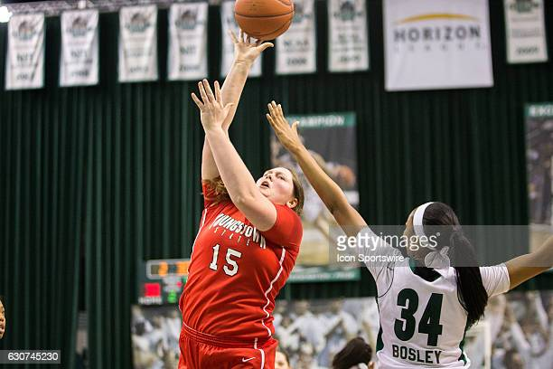 Youngstown State Penguins F Mary Dunn shoots against Cleveland State Vikings F Shadae Bosley during the second quarter of the NCAA Women's Basketball...
