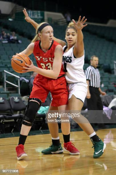 Youngstown State Penguins forward Sarah Cash is defended by Cleveland State Vikings guard Mariah White during the second quarter of the women's...