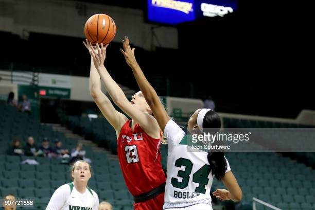 Youngstown State Penguins forward Sarah Cash scores a basket as she drives past Cleveland State Vikings forward Shadae Bosley during the first...