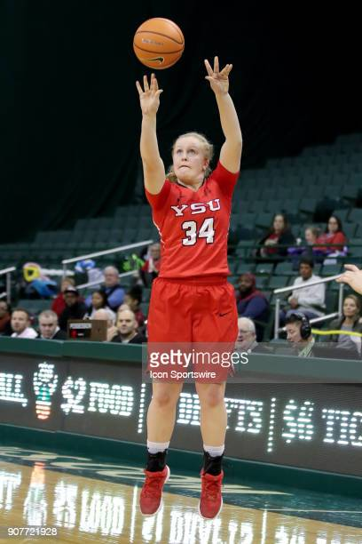Youngstown State Penguins guard McKenah Peters shoots during the second quarter of the women's college basketball game between the Youngstown State...