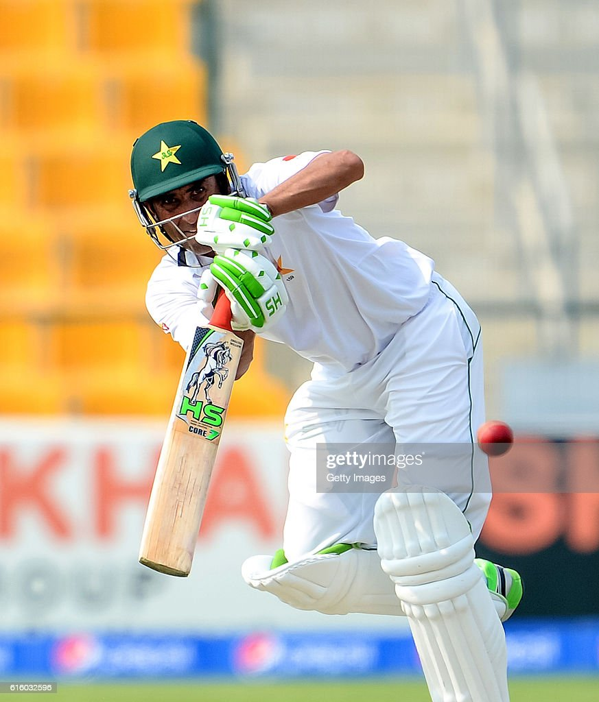 Younis Khan bats during Day One of the Second Test between Pakistan and the West Indies at the Zayed Cricket Stadium on October 21, 2016 in Abu Dhabi, United Arab Emirates.