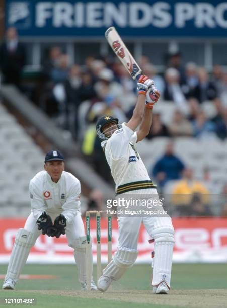 Younis Khan batting for Pakistan during his innings of 65 runs in the 2nd Test match between England and Pakistan at Old Trafford, Manchester, 31st...