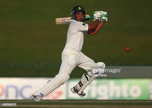 Younis Khan of Pakistan bats during Day One of the Second Test at Sheikh Zayed Stadium on October 30 2014 in Abu Dhabi United Arab Emirates