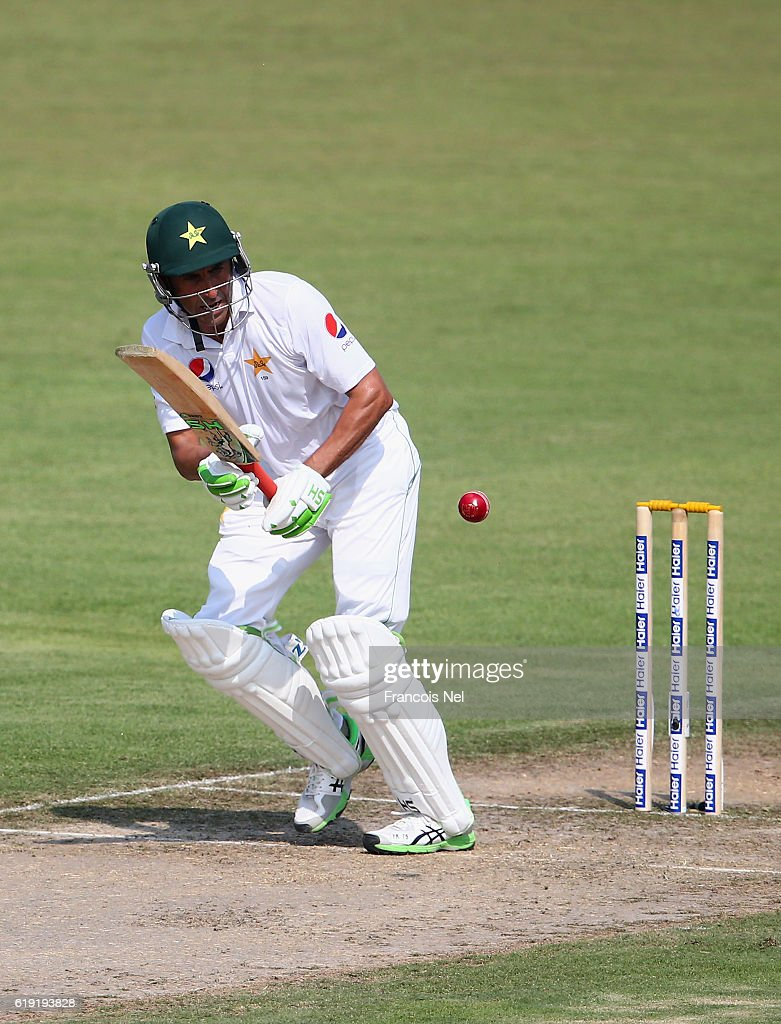 Younis Khan of Pakistan bats during Day One of the Third Test between Pakistan and West Indies at Sharjah Cricket Stadium on October 30, 2016 in Sharjah, United Arab Emirates.