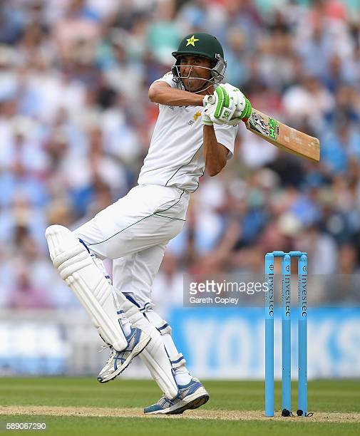 Younis Khan of Pakistan bats during day three of the 4th Investec Test between England and Pakistan at The Kia Oval on August 13 2016 in London...