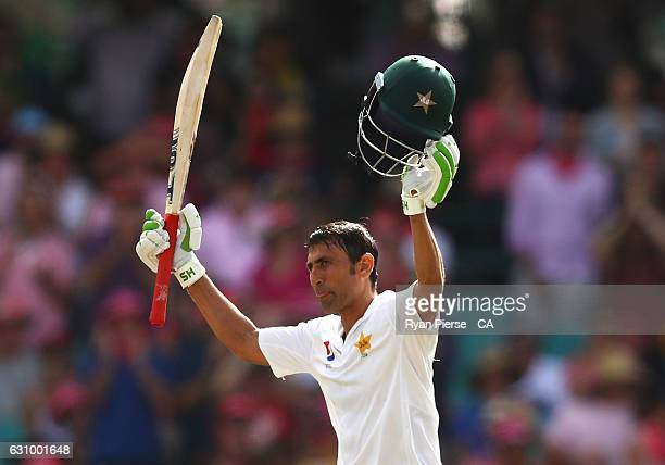 Younis Khan of Pakistan celebrates after reaching his century during day three of the Third Test match between Australia and Pakistan at Sydney...