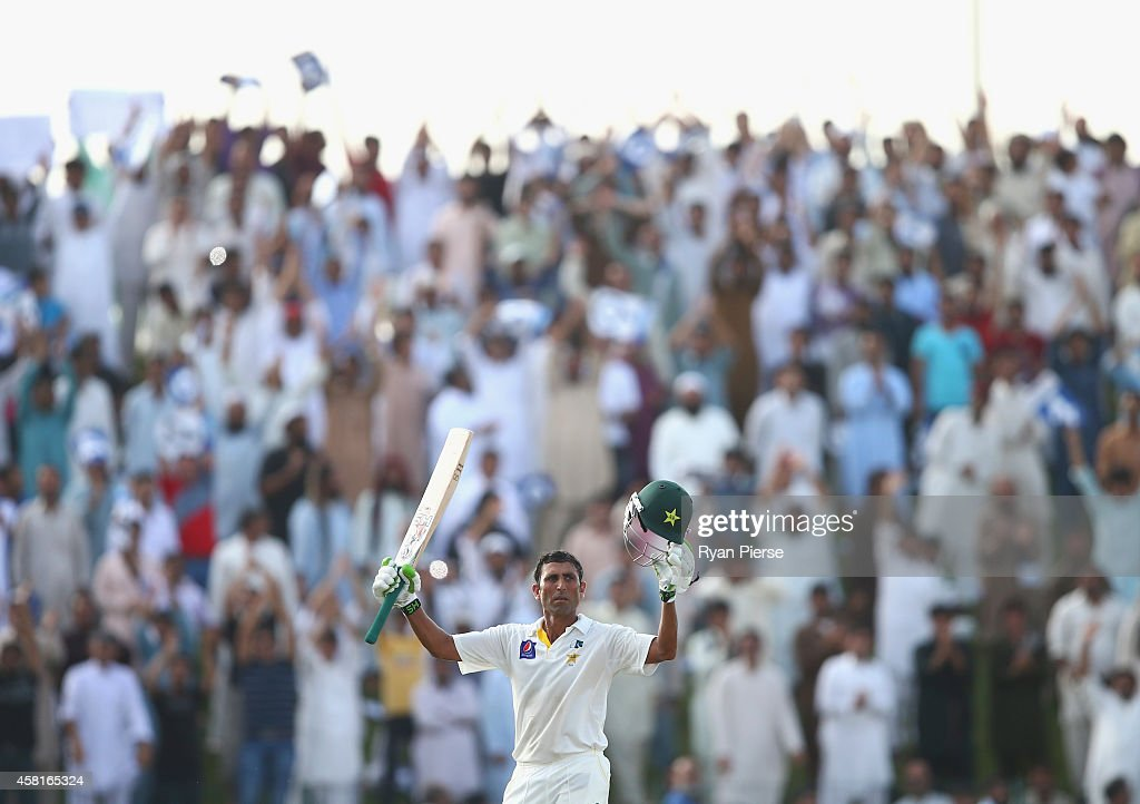 Younis Khan of Pakistan celebrates after reaching his double centrury runs during Day Two of the Second Test between Pakistan and Australia at Sheikh Zayed Stadium at Sheikh Zayed stadium on October 31, 2014 in Abu Dhabi, United Arab Emirates.