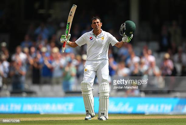Younis Khan of Pakistan celebrates his double century during day three of the 4th Investec Test between England and Pakistan at The Kia Oval on...