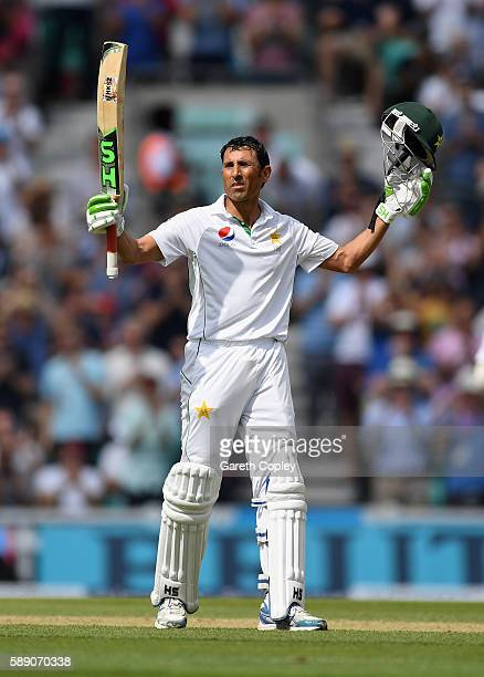 Younis Khan of Pakistan celebrates reaching his double century during day three of the 4th Investec Test between England and Pakistan at The Kia Oval...