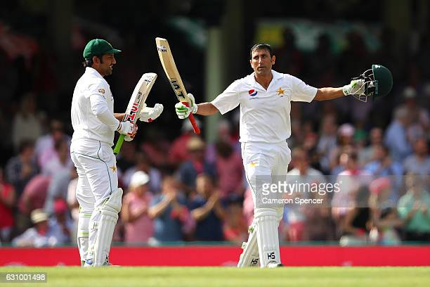 Younis Khan of Pakistan celebrates scoring a century during day three of the Third Test match between Australia and Pakistan at Sydney Cricket Ground...