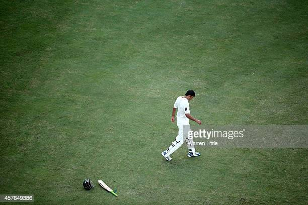 Younis Khan of Pakistan has a break from play during Day One of the First Test between Pakistan and Australia at Dubai International Stadium on...