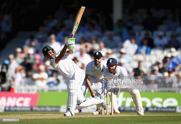 Younis Khan of Pakistan hits out for six runs during day two of the 4th Investec Test between England and Pakistan at The Kia Oval on August 12 2016...