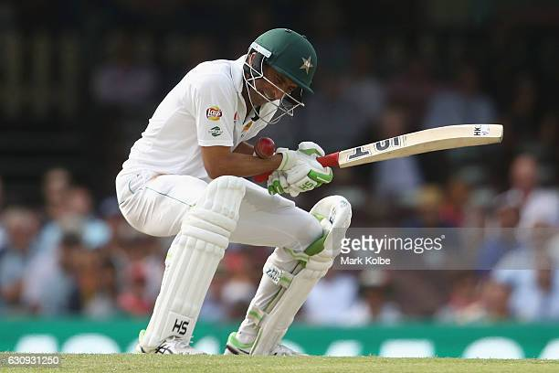 Younis Khan of Pakistan is struck by a short ball as he bats during day two of the Third Test match between Australia and Pakistan at Sydney Cricket...