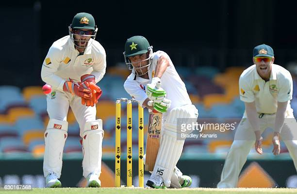 Younis Khan of Pakistan plays a shot during day four of the First Test match between Australia and Pakistan at The Gabba on December 18 2016 in...