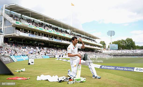 Younis Khan of Pakistan prepares to bat during the 1st Investec Test between England and Pakistan at Lord's Cricket Ground on July 14 2016 in London...