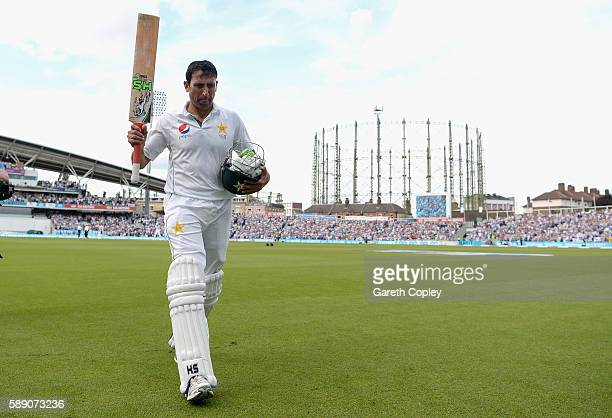 Younis Khan of Pakistan salutes the crowd as he leaves the field after making 218 during day three of the 4th Investec Test between England and...