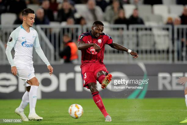 Younousse Sankhare of Bordeaux in action during the UEFA Europa League Group C match between Girondins de Bordeaux and Zenit Saint Petersburg at...