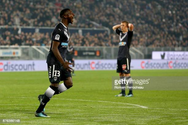 Younousse Sankhare of Bordeaux reacts during the Ligue 1 match between FC Girondins de Bordeaux and Olympique Marseille at Stade Matmut Atlantique on...