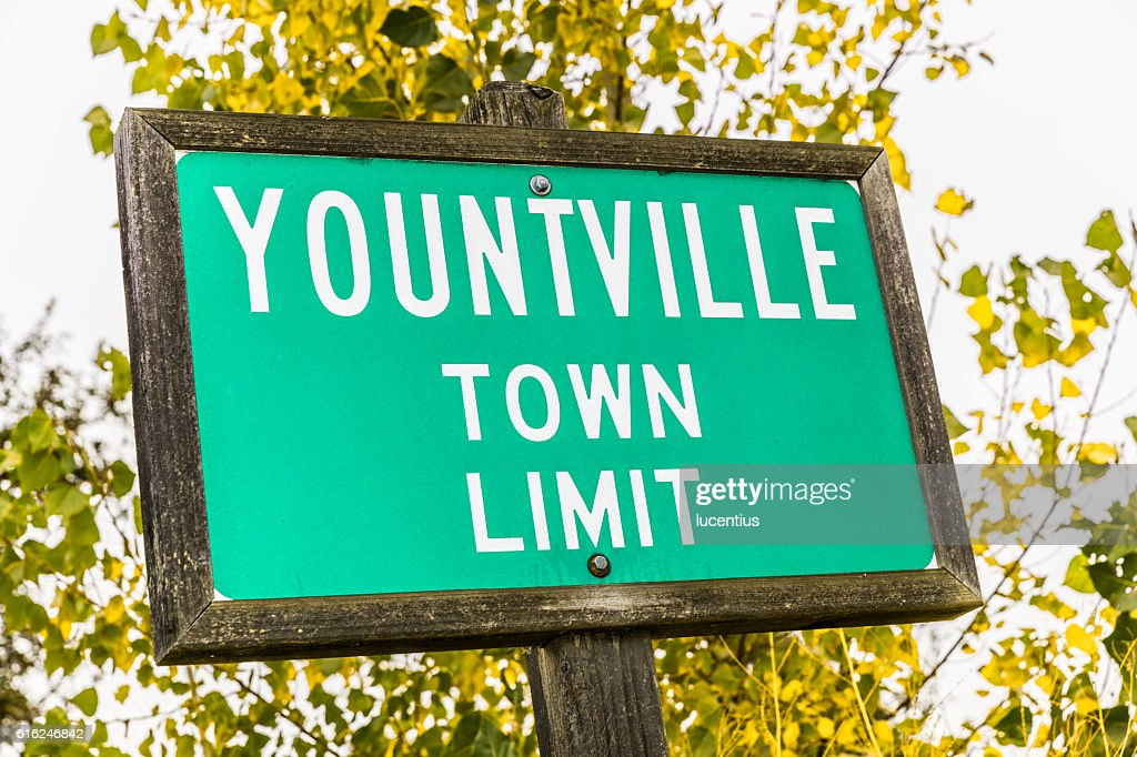 Yountville, California, town sign : Stock-Foto