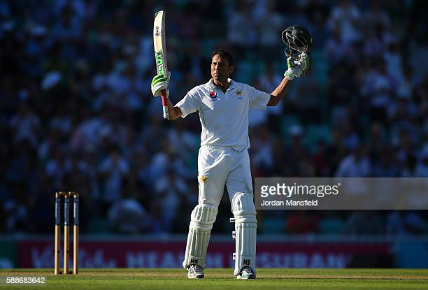 Younus Khan of Pakistan celebrates his century during day two of the 4th Investec Test between England and Pakistan at The Kia Oval on August 12 2016...