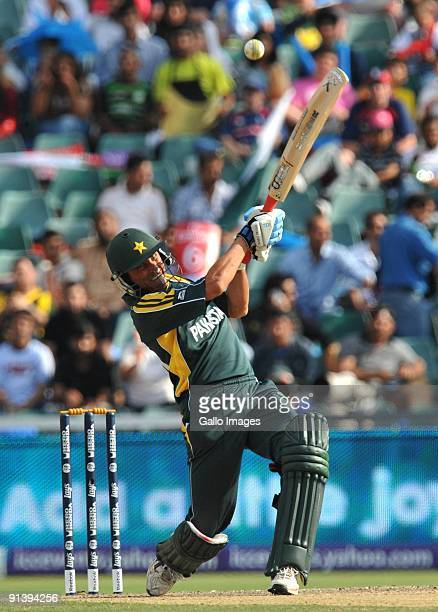 Younus Khan of Pakistan hits a boundary off James Franklin of New Zealand during the ICC Champions Trophy semi final match between New Zealand and...