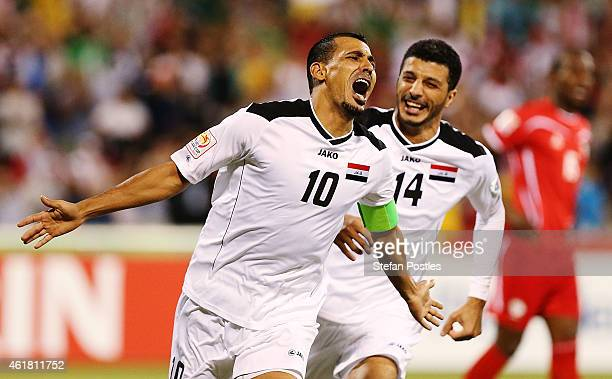 Younus Mahmood of Iraq celebrates after scoring a goal during the 2015 Asian Cup match between Iraq and Palestine at Canberra Stadium on January 20,...