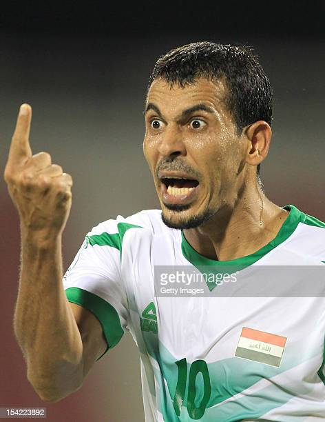 Younus Mahmood of Iraq gestures during the 2014 FIFA World Cup Qualifier match between Iraq and Australia at Al Arabi Stadium on October 16 2012 in...