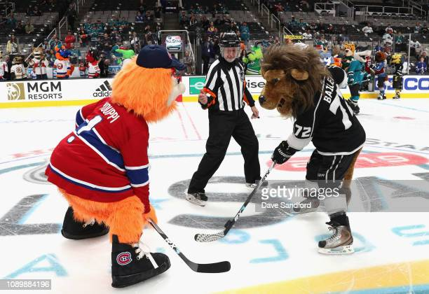 Youppi of the Montreal Canadiens and Bailey of the Los Angeles Kings faceoff during the 2019 NHL AllStar Mascot Showdown at the SAP Center on January...