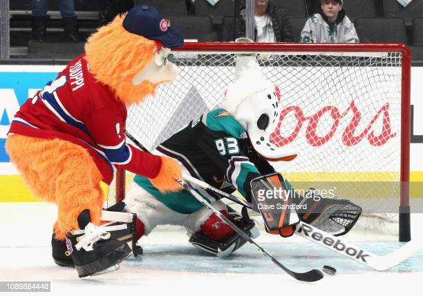 Youppi of the Montreal Canadiens and Wild Wing of the Anaheim Ducks participate in the 2019 NHL AllStar Mascot Showdown at the SAP Center on January...