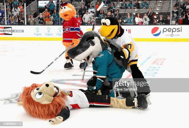Youppi of the Montreal Canadiens Iceburgh of the Pittsburgh Penguins SJ Sharkie of the San Jose Sharks and Spartacat of the Ottawa Senators...
