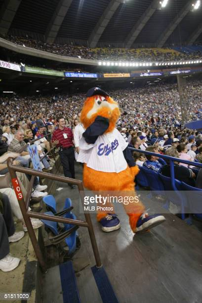 Youppi of the Montreal Expos walks among the fans during the final Expos home game ever at Olympic Stadium on September 29 2004 in Montreal Quebec...
