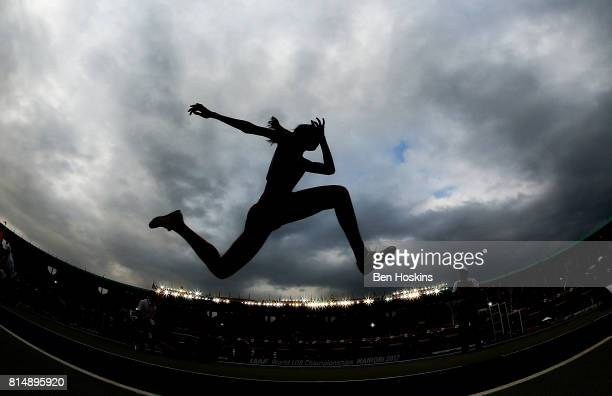 Youqi Pan of China in action during the final of the girls triple jump on day four of the IAAF U18 World Championships at the Kasarani Stadium on...