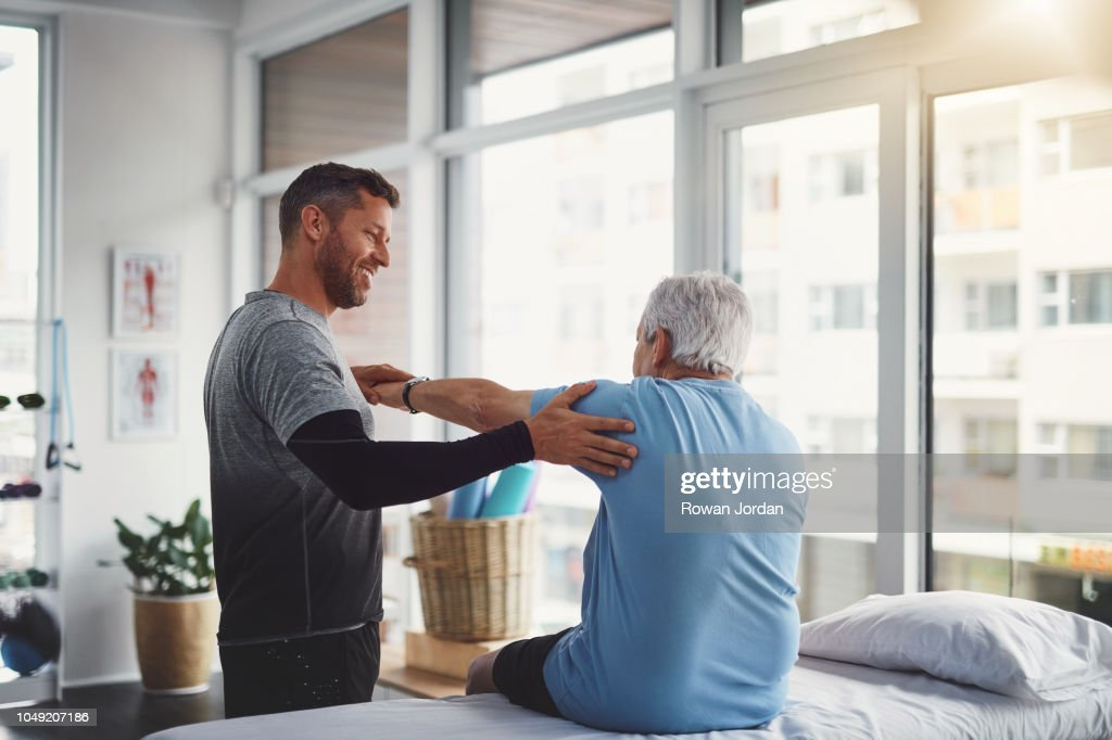 Your body seems to be recovering well : Stock Photo