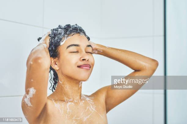 your hair also needs taking care of - washing hair stock pictures, royalty-free photos & images
