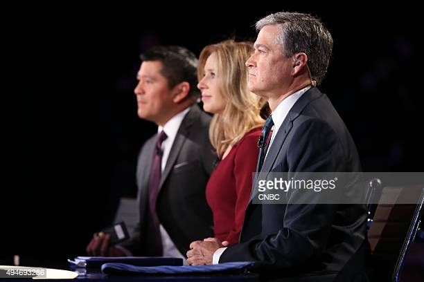 The Republican Presidential Debate Pictured CNBCs Carl Quintanilla coanchor of Squawk on the Street and Squawk Alley Becky Quick coanchor of Squawk...