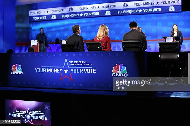 The Republican Presidential Debate Pictured CNBCs Chief Washington Correspondent John Harwood Becky Quick coanchor of Squawk Box and Carl Quintanilla...