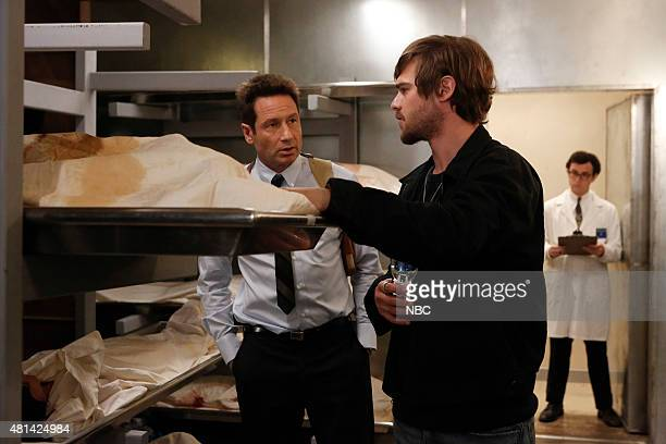 AQUARIUS 'Your Mother Should Know' Episode 111 Pictured David Duchovny as Sam Hodiak Grey Damon as Brian Shafe