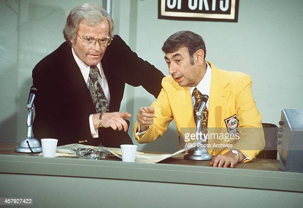 COUPLE 'Your Mother Wears Army Boots' Season Five 1/16/75 Head of ABC Sports Roone Arledge and sportscaster Howard Cosell gueststarred as Felix pulls...