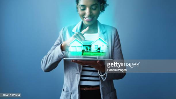 your perfect home is just an app away - hologram stock pictures, royalty-free photos & images