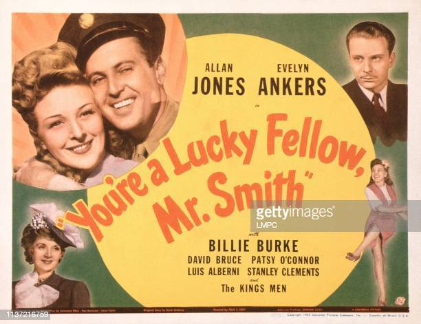 You're A Lucky Fellow Mr SMITH US lobbycard top left Evelyn Ankers Allan Jones bottom left Billie Burke top right David Bruce 1943